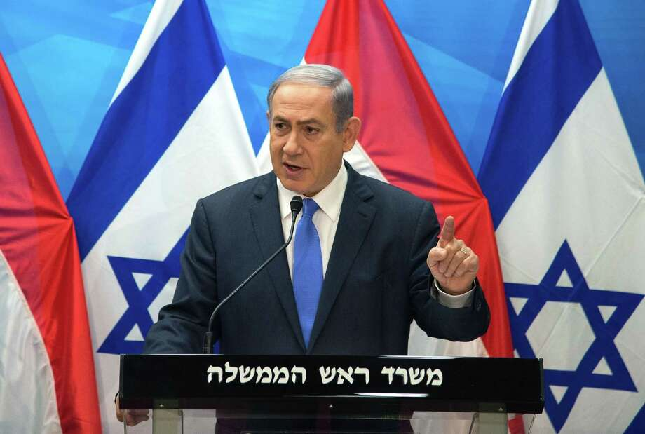 Israel's Prime Minister Benjamin Netanyahu speaks during a press conference with Dutch Foreign Minister Bert Koenders at the Prime Minister's office in Jerusalem, Tuesday, July 14, 2015. (Ahikam Seri/Pool Photo via AP) Photo: AP / Sipa Pool