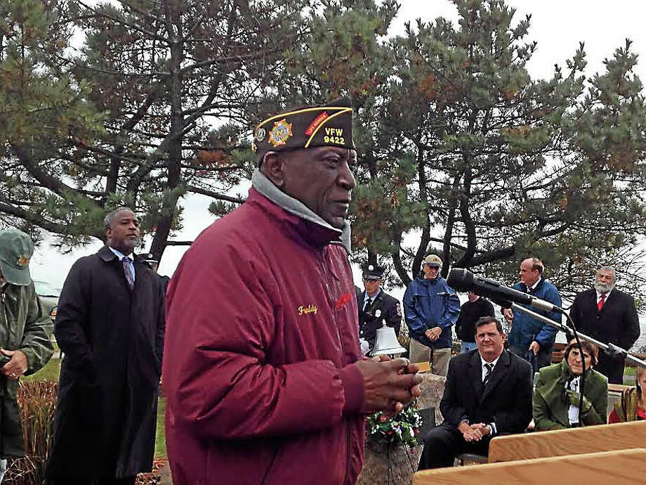 Freddy Jackson, 71, who served in the Army in Colorado and Korea from 1963-1966, speaks at West Haven's Veterans Day ceremony Wednesday morning at Bradley Point Park. Photo: Mark Zaretsky — New Haven Register