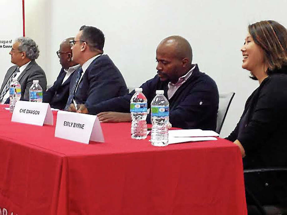 """""""More Than A Gap"""" panelists, from left, Gil Traverso, Erik Clemons, Juan Candelaria, Che Dawson and Emily Byrne discuss root causes of the achievement gap Thursday night. Photo: Brian Zahn — New Haven Register"""