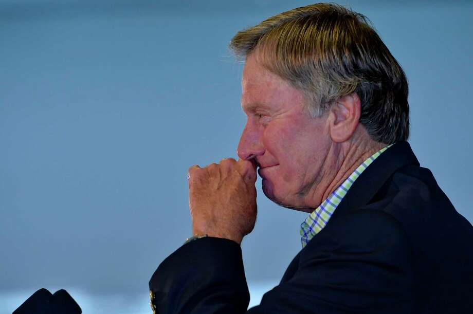 South Carolina football coach Steve Spurrier speaks during a news conference to announce his resignation on Tuesday in Columbia, S.C. Photo: Richard Shiro — The Associated Press   / FR159523 AP