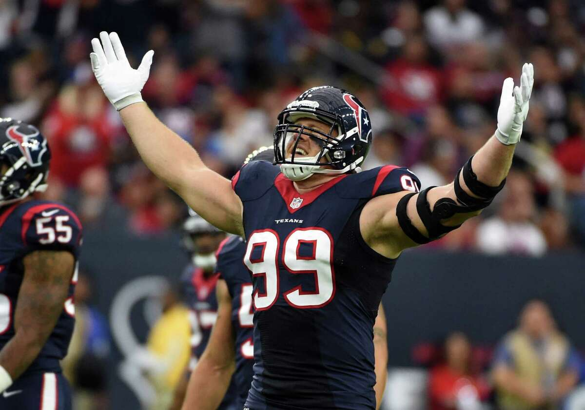 Houston Texans defensive end J.J. Watt broke his left hand in practice on Wednesday, but says he'll play on Sunday.