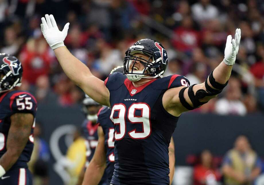Houston Texans defensive end J.J. Watt broke his left hand in practice on Wednesday, but says he'll play on Sunday. Photo: Eric Christian Smith — The Associated Press   / FR171023