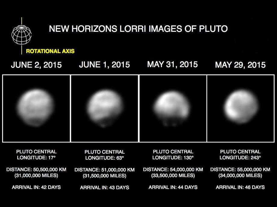 This image made available by NASA/Johns Hopkins University Applied Physics Laboratory/Southwest Research Institute shows four computer-enhanced views of Pluto, taken by New Horizons' Long Range Reconnaissance Imager (LORRI). On July 14, 2015, New Horizons is expected make its closest approach to Pluto. (NASA/Johns Hopkins University Applied Physics Laboratory/Southwest Research Institute via AP) Photo: AP / NASA/Johns Hopkins University Applied Physics Laboratory/Southwe