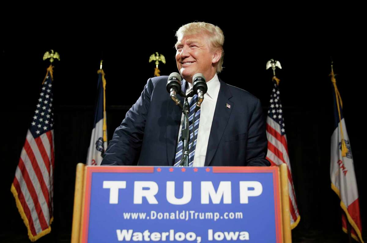 """FILE - In this Oct. 7, 2015 file photo, Republican presidential candidate Donald Trump speaks during a campaign stop in Waterloo, Iowa. Trump has agreed to host """"Saturday Night Live"""" next month. NBC said its former """"Celebrity Apprentice"""" host will be the headliner of the Nov. 7 show."""