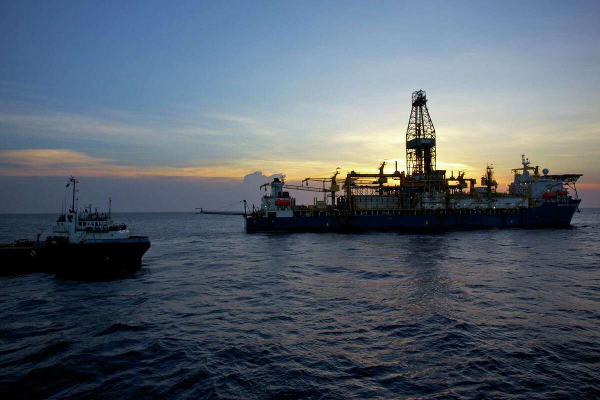 The Deepwater Millennium drillship and a supply vessel work on an Anadarko Petroleum Corp. project in the Rovuma Basin off the coast of Mozambique. (Anadarko Petroleum photo)
