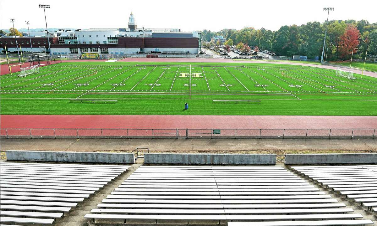 The new Hamden High School artificial turf football field.