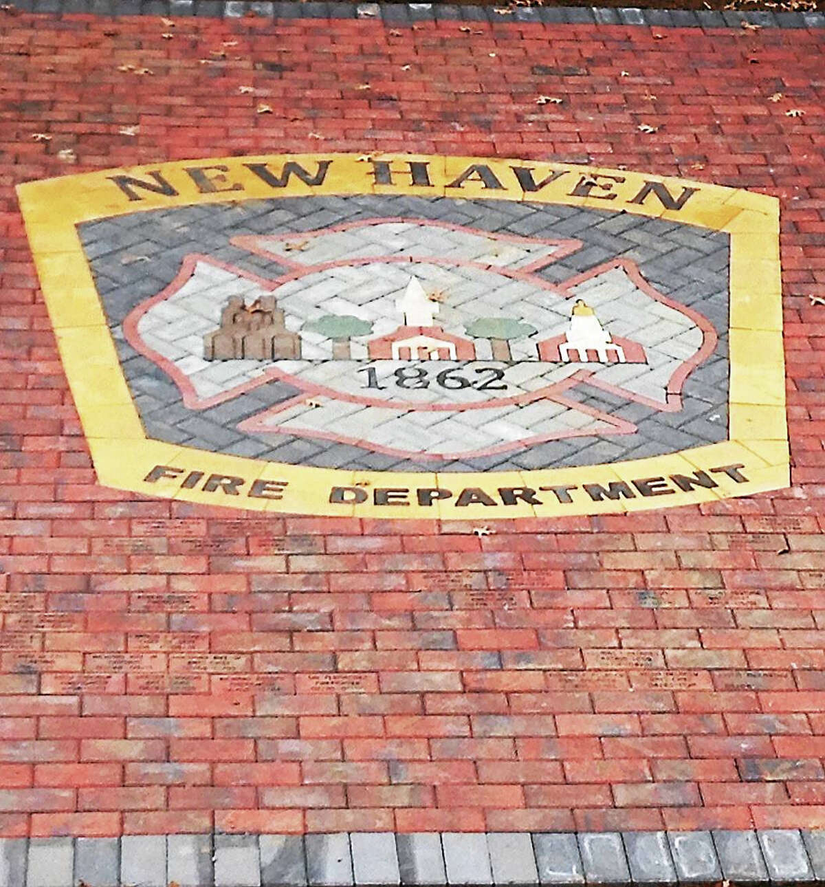 A portion of the new memorial outside the New Haven Fire Training Academy at 230 Ella T. Grasso Blvd. in New Haven.