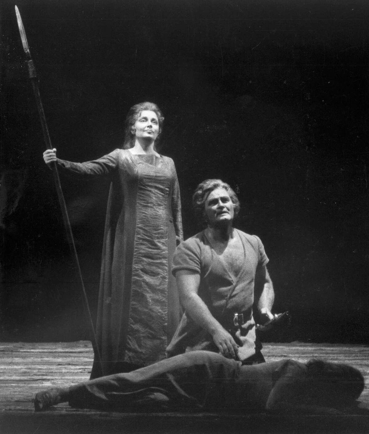 """In this 1976 file photo, Roberta Knie, as Brunnhilder and Jon Vickers, in Siegmund, are seen in the San Francisco Opera's production of """"Die Walkure"""" (The Valkyrie) in San Francisco."""