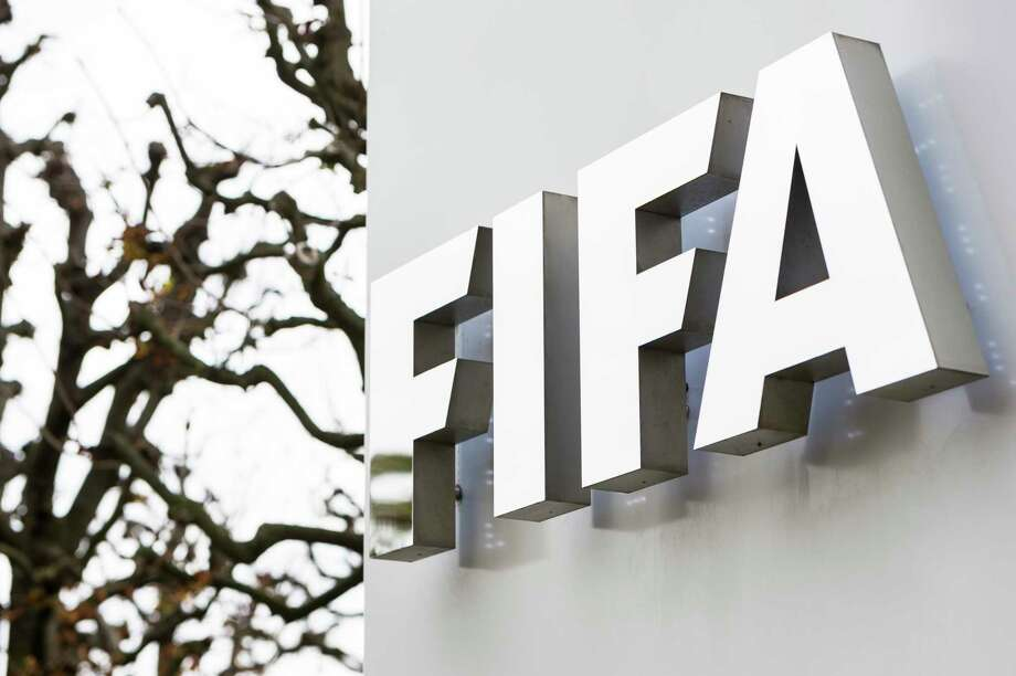 The FIFA logo is pictured at the FIFA headquarters in Zurich, Switzerland on Oct. 8, 2015. FIFA provisionally banned President Sepp Blatter and UEFA President Michel Platini for 90 days. Photo: Dominic Steinmann/Keystone Via AP   / KEYSTONE