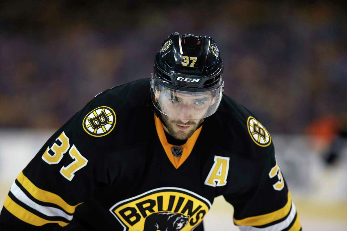 The Bruins' Patrice Bergeron waits for a face off during the second period on Monday.