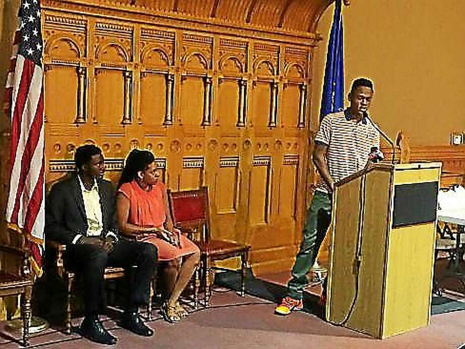 Ibrahmin Adegona, a student from Bridgeport, talks about his experiences. Photo: Photo By Madeline Stocker/courtesy CTNJ