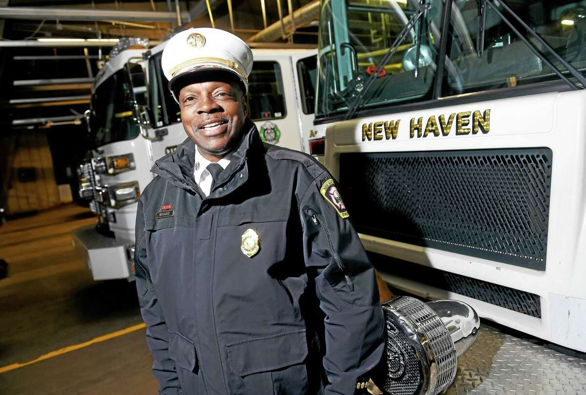 New Haven Fire Chief Allyn Wright is photographed at Central Station in New Haven Wednesday. He will be retiring on 1/4/2016.