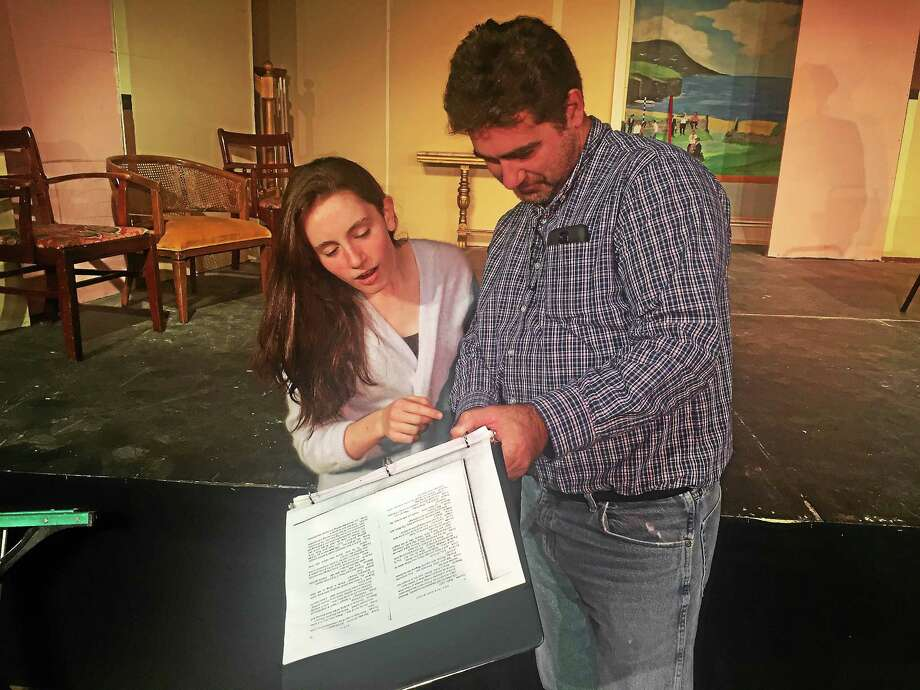 Roisin Beirne, 15, and her dad Brian Beirne, who will be making his directorial debut. Photo: Jason Simms - The Gaelic Players