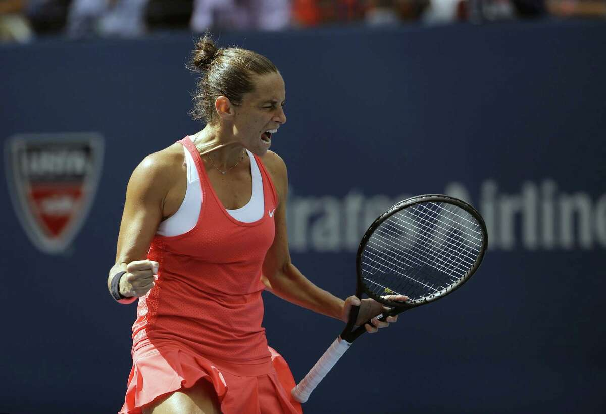 Roberta Vinci reacts after winning a point on Friday.