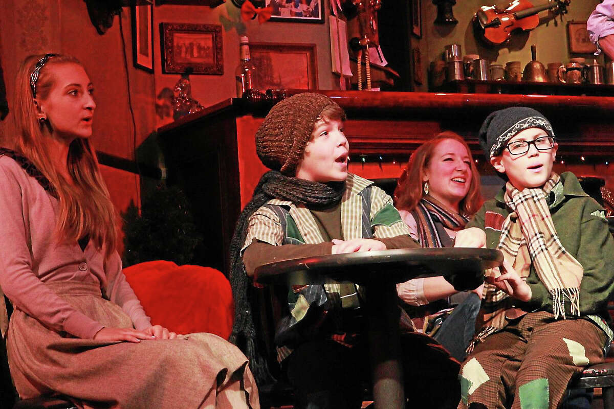 """Olivia Harry, left, Tyler Felson, Grace Carver and Carson Waldron chime in with """"The Bells of Dublin"""" at Ivoryton Playhouse."""