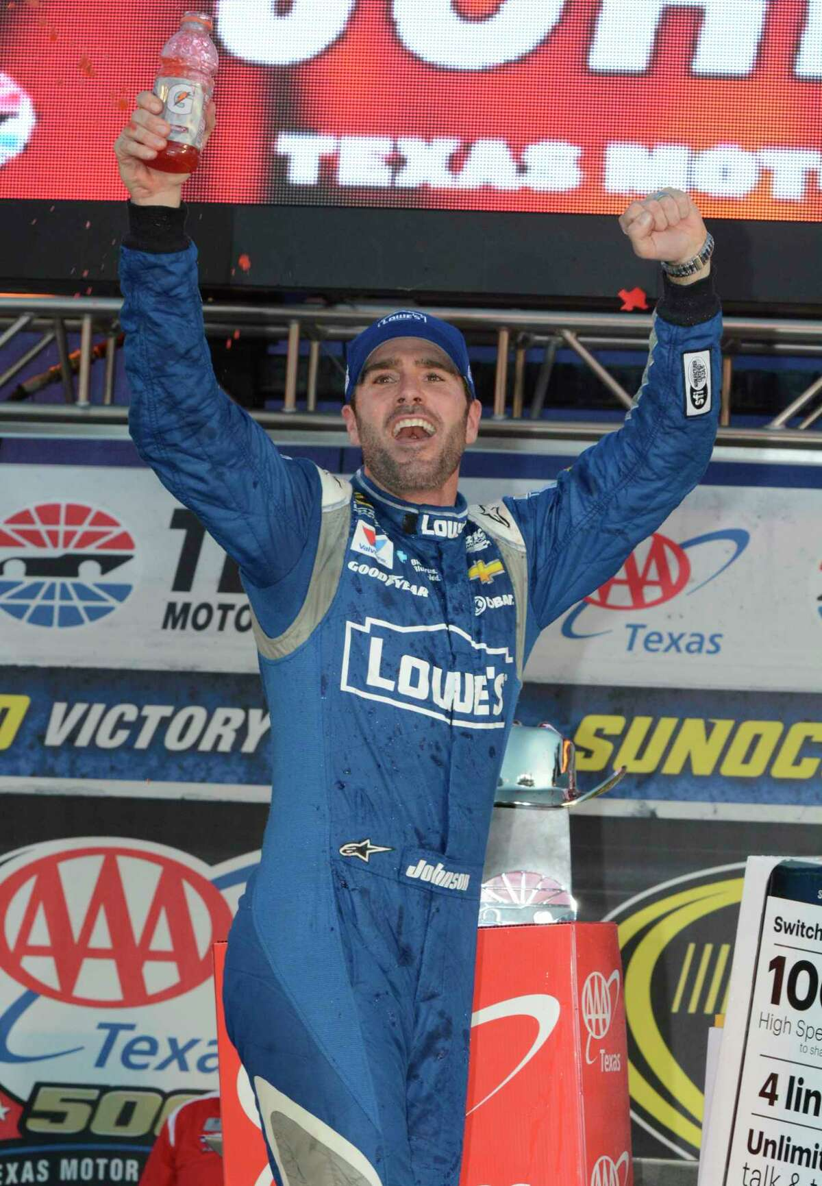 Jimmie Johnson celebrates in Victory Lane.