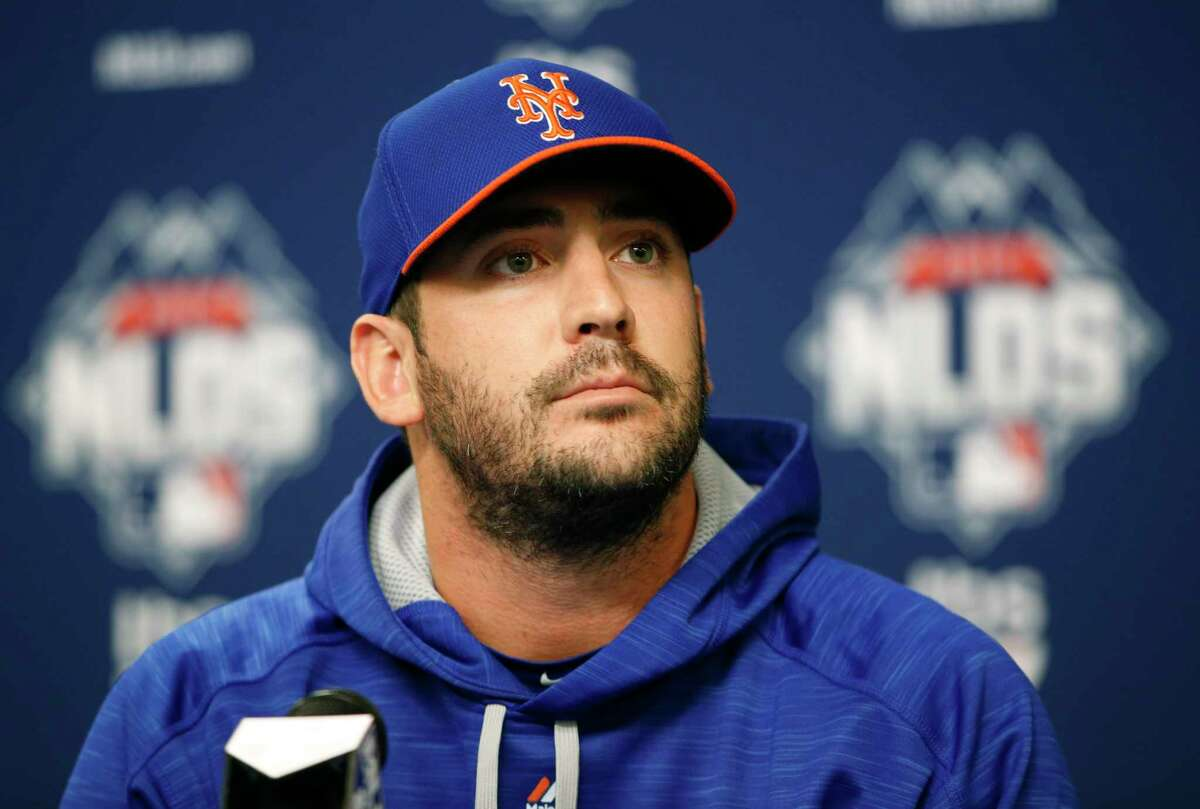 New York Mets Game 3 starting pitcher Matt Harvey listens to a reporter's question during a news conference on Sunday.