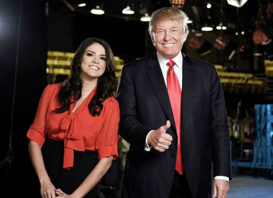 "This Nov. 3, 2015 photo provided by NBC shows ""Saturday Night Live"" cast member Cecily Strong, left, and Republican presidential candidate Donald Trump in New York. Trump will host the show on Nov. 7. Photo: Dana Edelson/NBC Via AP   / NBC"
