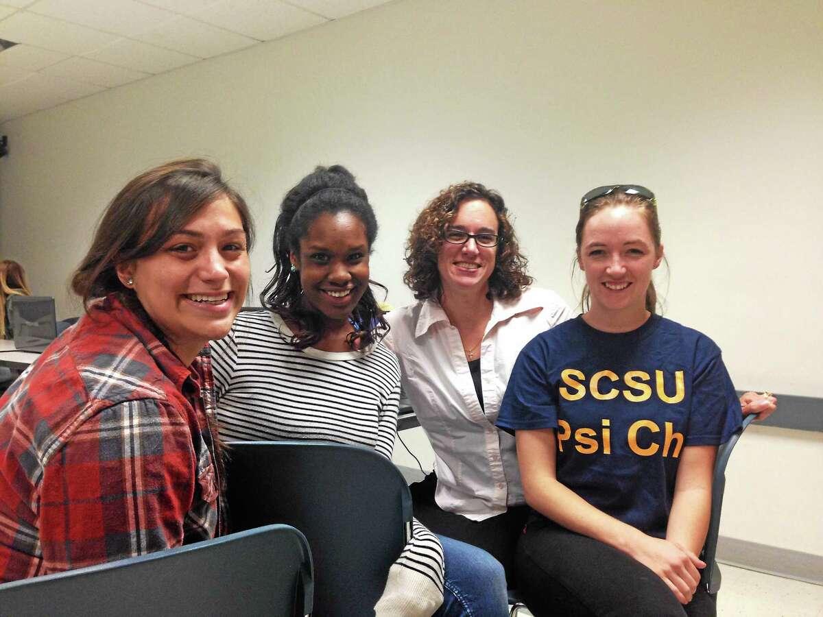 ED STANNARD — NEW HAVEN REGISTER From left, Tonishia Signore, Kandice Green, professor Jennifer Suckle-Nelson and Beckon DiGaetano.