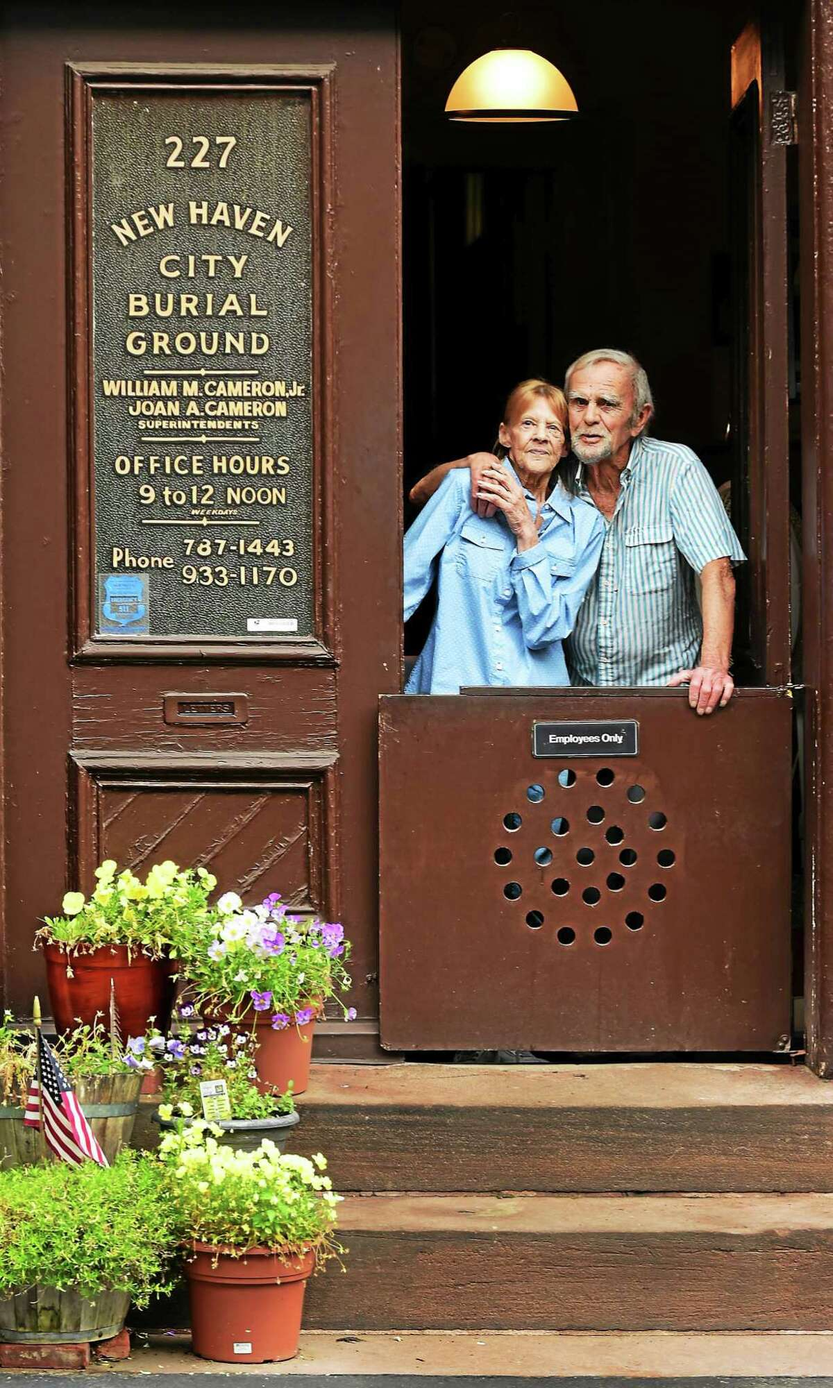 Joan Cameron and her husband, Bill Cameron, Jr., both superintendents of the Grove Street Cemetery, in New Haven, July 10, 2015.