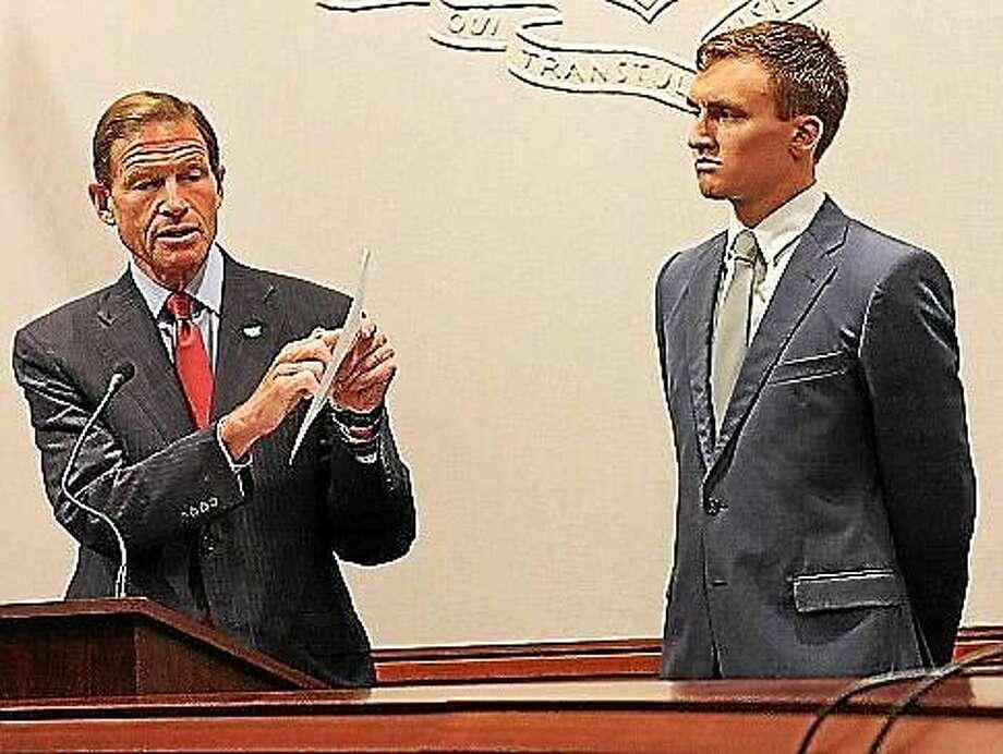 U.S. Sen. Richard Blumenthal, D-Conn., and ConnPIRG Director Evan Preston Photo: Elizabeth Regan, Ctnewsjunkie