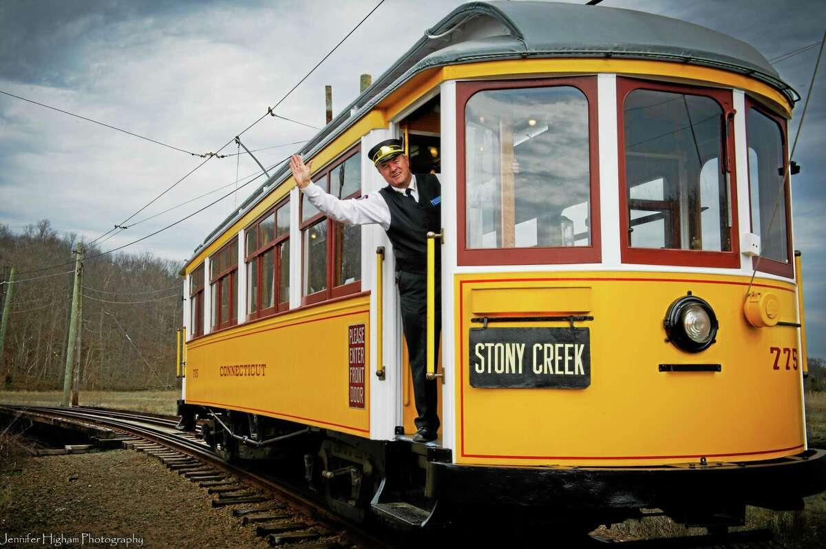 John R. Soehnlein, volunteer trolley conductor on trolley car number 775. Contributed-Shoreline Trolley Museum