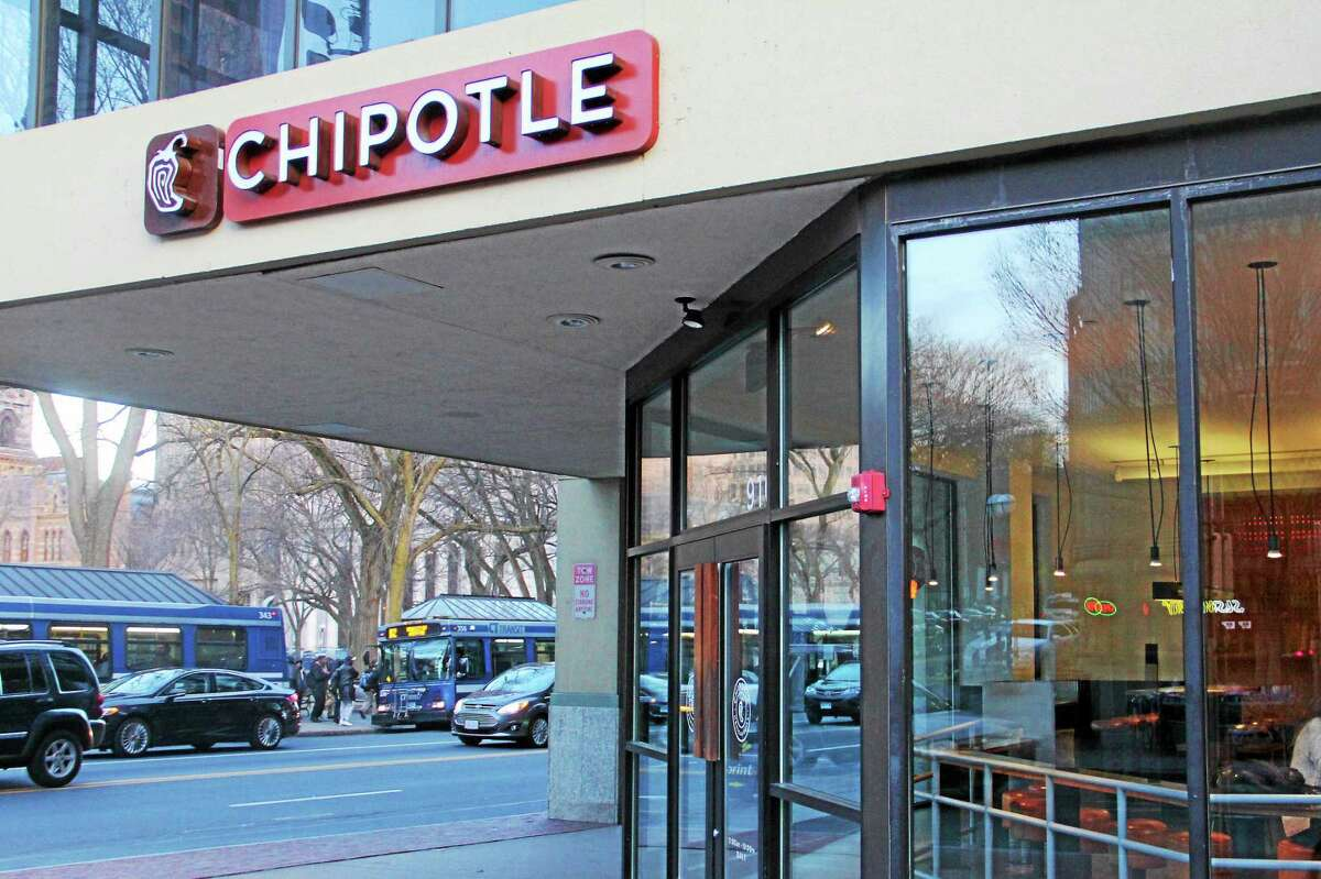 The Chipotle restaurant on Chapel Street in New Haven.