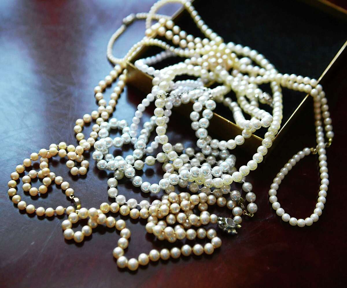 An assortment of pearls donated to the Pearls to Girls and Caps to Chaps program.