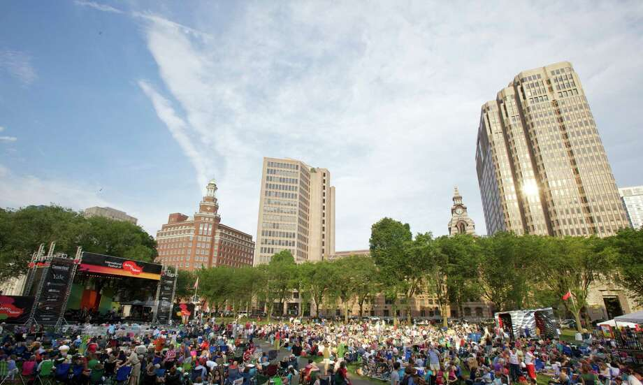 The New Haven Green, packed for a free concert. Photo: Arts And Ideas Photo