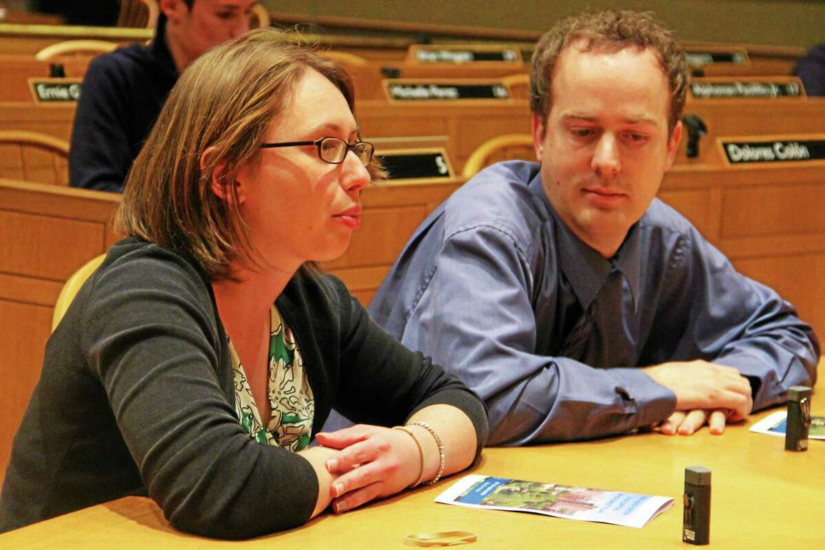 New Haven Department of Parks, Recreation & Trees Director Rebecca Bombero , left, address the committee next to City Engineer Giovanni Zinn during a public hearing Tuesday at City Hall.
