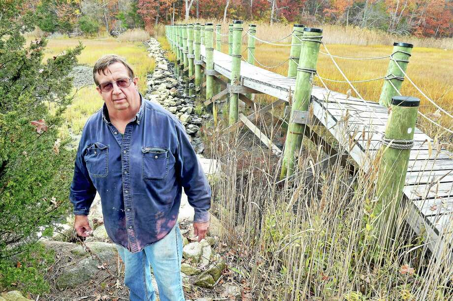 Jay Medlyn stands by a footbridge that was built in place of an existing road bed that functioned as a levee against salt water from the Sound bordering his farm in Branford. Photo: Arnold Gold — New Haven Register