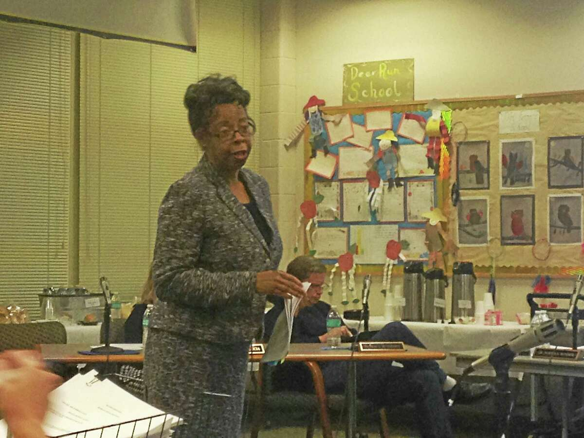 East Haven Superintendent of Schools Portia Bonner presents her report on the Consolidation of Schools plan at Tuesday's Board of Education meeting at East Haven High School.