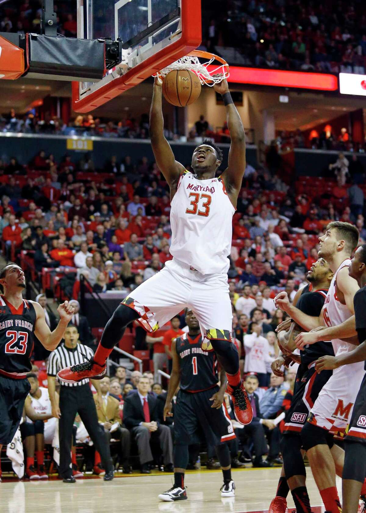 Maryland center Diamond Stone (33) dunks the ball during a game against St. Francis earlier this season.