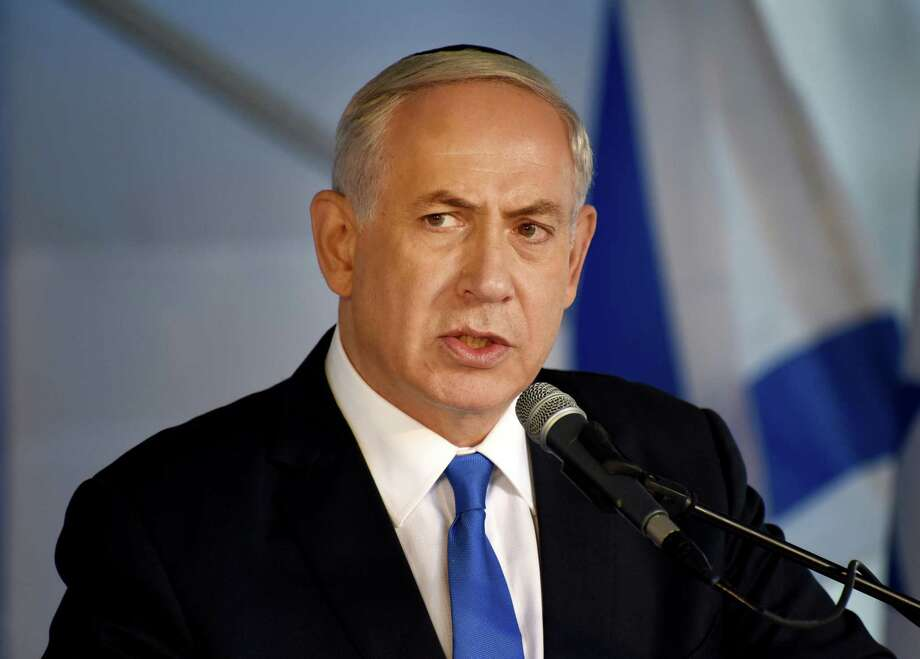 In this Oct. 26 photo, Israeli Prime Minister Benjamin Netanyahu speaks during the official memorial ceremony marking the 20th anniversary of the assassination of the late Prime Minister Yitzhak Rabin in the Mt. Herzl Cemetery in Jerusalem. Photo: Pool Photo Via AP   / UPI Pool
