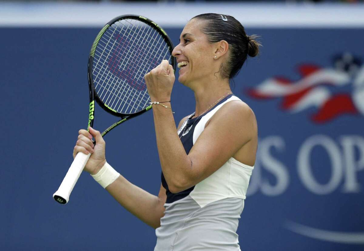 Flavia Pennetta reacts after beating Petra Kvitova during the quarterfinals of the U.S. Open on Wednesday in New York.