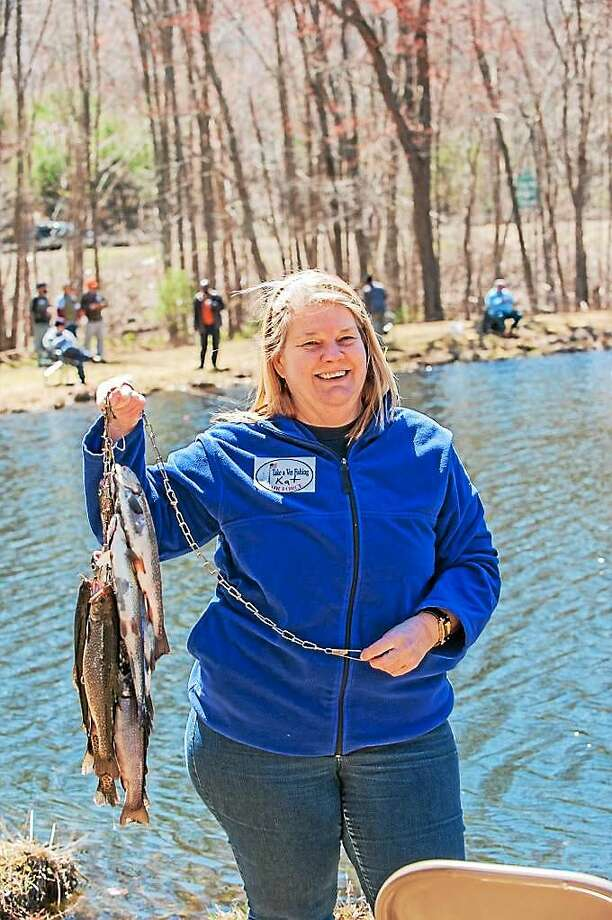 """Air Force veteran Katherine Swenson during a recent """"Take a Vet Fishing"""" event in Branford. Photo: Contributed Photo"""