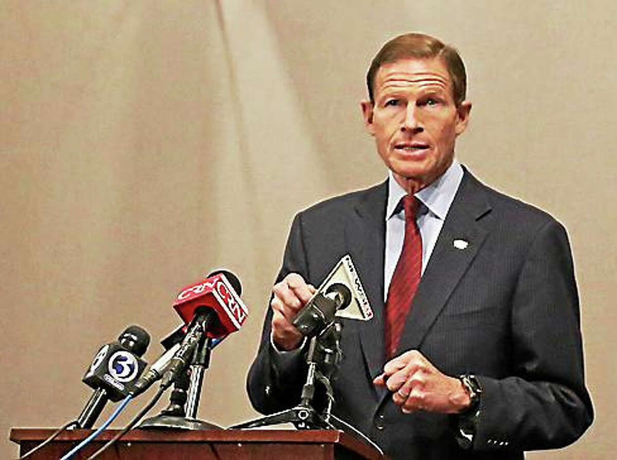 U.S. Sen. Richard Blumenthal speaks to reporters.