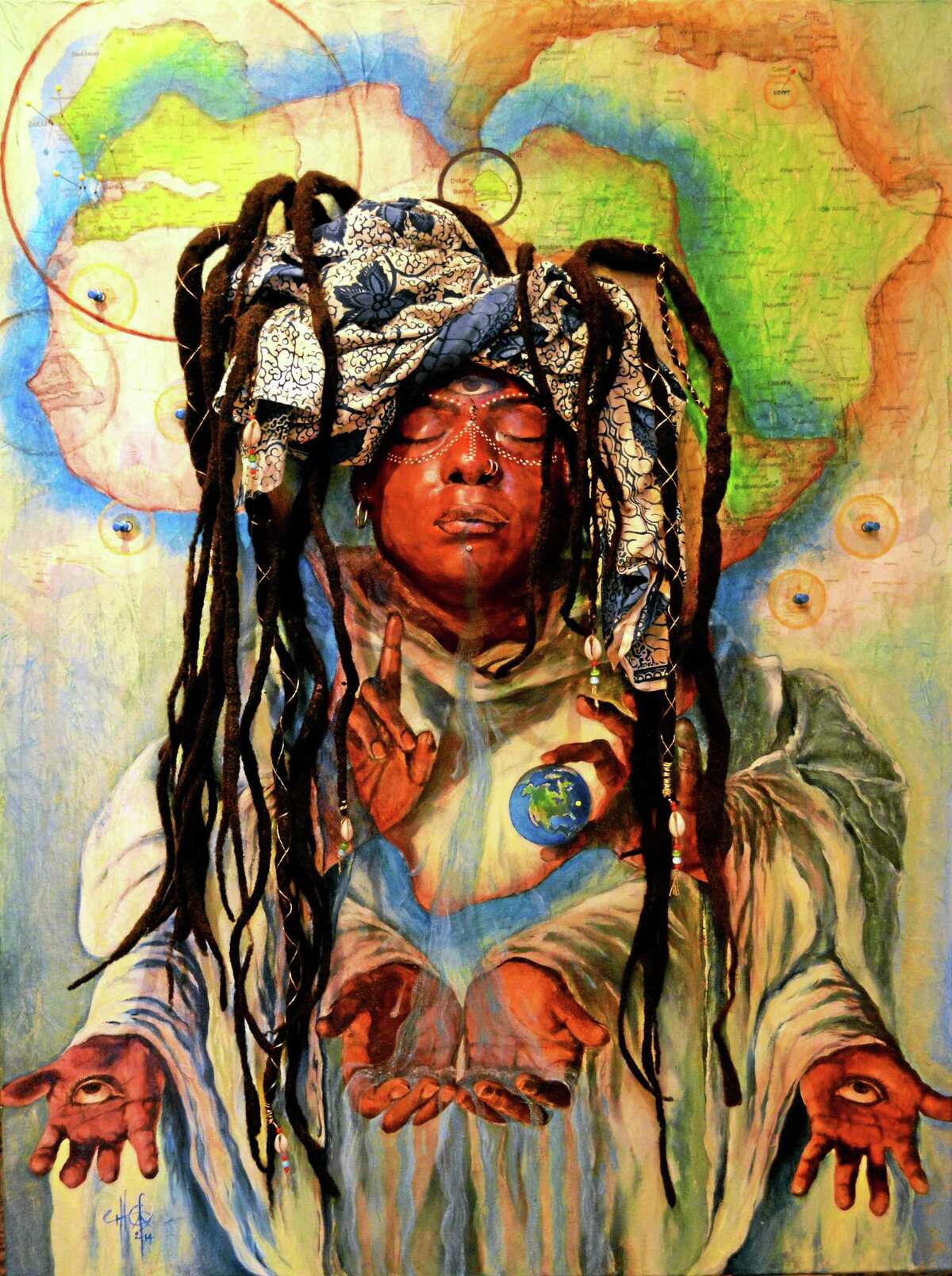 "The Michelle Thomas artwork ""Transcendent Traveler"" will be on display at the vets' show."