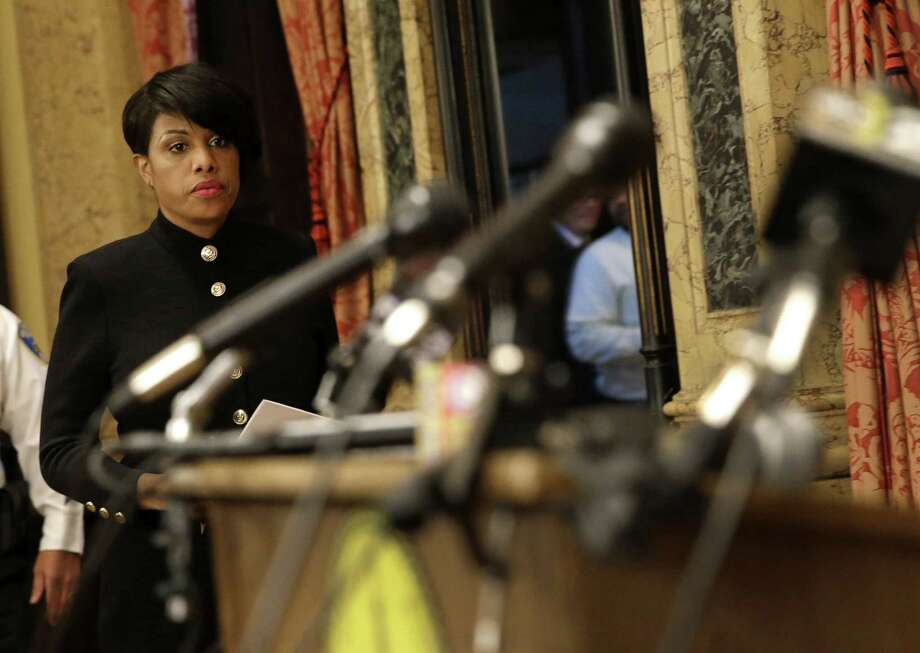 Baltimore Mayor Stephanie Rawlings-Blake walks into a news conference, Wednesday, July 8, 2015, in Baltimore, to announce her firing of Baltimore Police Department Commissioner Anthony Batts and introduce Interim Commissioner Kevin Davis. (AP Photo/Patrick Semansky) Photo: AP / AP