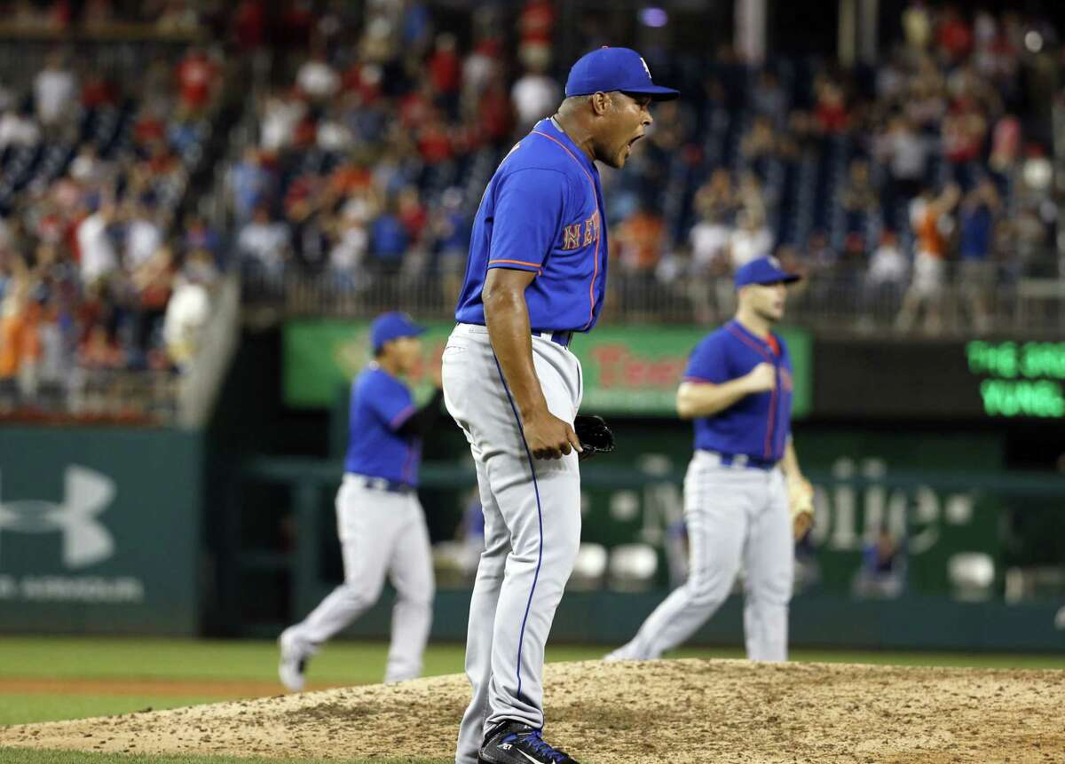Mets relief pitcher Jeurys Familia reacts after the last out against the Washington Nationals. The Mets trailed 7-1, but won 8-7.
