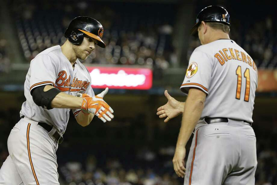 Frank Franklin II  — The Associated Press  The Baltimore Orioles' Chris Davis (19) celebrates with third base coach Bobby Dickerson (11) after hitting a home run during the ninth inning against the New York Yankees. Photo: AP / AP