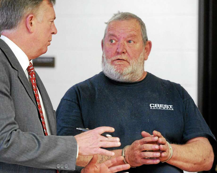 In this April 25, 2014, photo, Senior Assistant Public Defender Bruce E. Weiant, left, with client Arthur W. Gauvin at Gauvin's arraignment at Superior Court in Derby. Photo: Mara Lavitt — New Haven Register   / Mara Lavitt