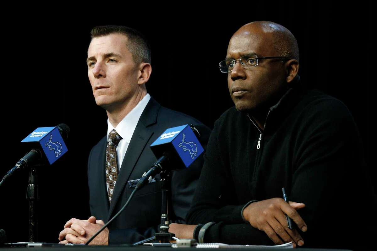 The Detroit Lions fired president Tom Lewand, left, and general manager Martin Mayhew on Thursday.