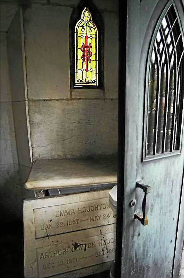 Screenshot via telegram.com: The Houghton family mausoleum appears to have been entered and disturbed in this photo taken Nov. 1. (T&G File Photo/Christine Peterson) Photo: Journal Register Co.