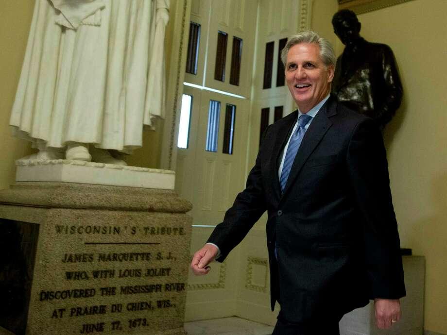 House Majority Leader Kevin McCarthy of Calif. walks toward the House Chamber on Capitol Hill in Washington Friday. Photo: AP Photo   / AP