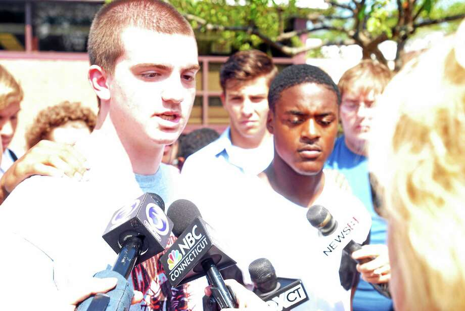 Cromwell High School co-captain Ethan Roy speaks at a press conference Tuesday. Photo: Jimmy Zanor — The Middletown Press