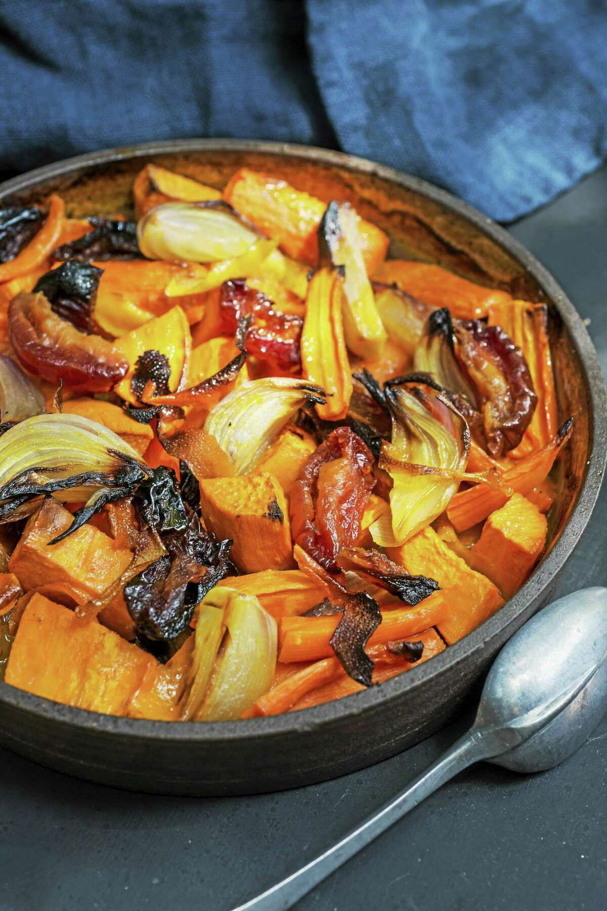 Roasted Carrot and Sweet Potato Tzimmes.