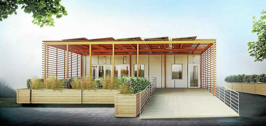 The front elevation of the Yale team's Y House entry into the U.S. Energy Department's Solar Decathlon. Photo: Journal Register Co.