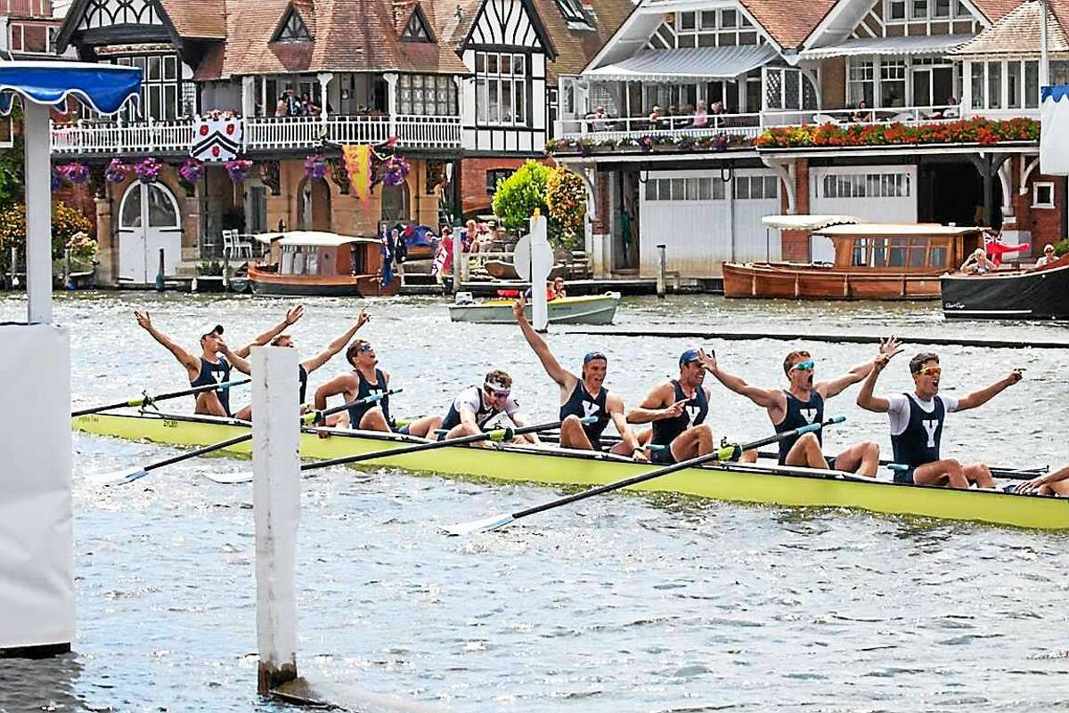Yale celebrates its win at the Henley Royal Regatta on the Thames River in England.