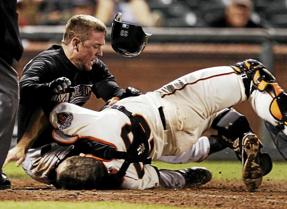 Scott Cousins, whose 2011 collision with Giants catcher Buster Posey ended Posey's season that year, played in Wednesday's Atlantic League all-star game in Bridgeport as a member of the Somerset Patriots. Photo: The Associated Press File Photo   / AP2011